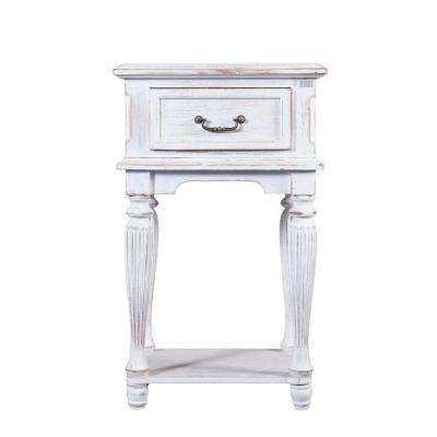 Small White Wood End Table