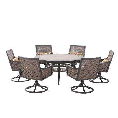 Bentley 7-Piece Patio Dining Set with Beige Cushions