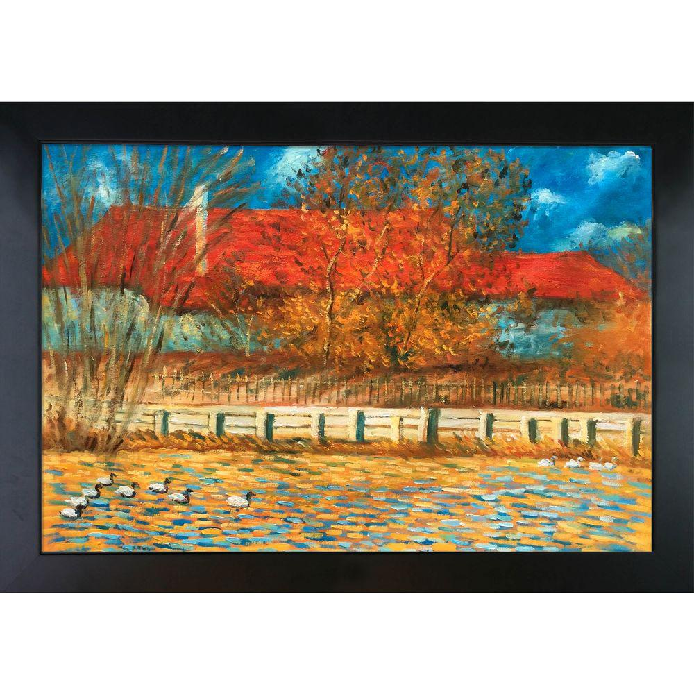 LA PASTICHE The Pond with Ducks in Autumn, 1873 with New Age Black Frameby Claude Monet Oil Painting, Multi-Colored was $1167.0 now $488.9 (58.0% off)