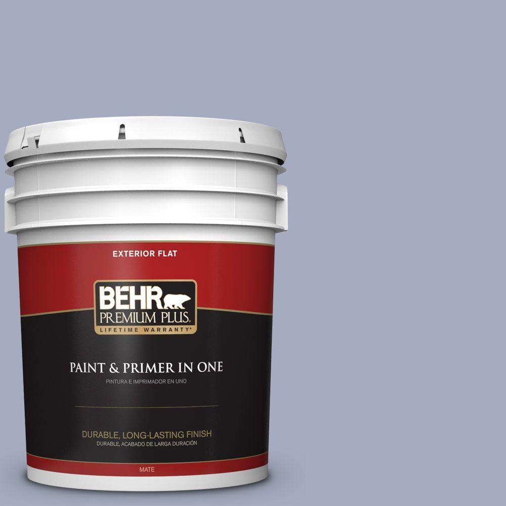 BEHR Premium Plus 5-gal. #ICC-55 Hydrangea Blossom Flat Exterior Paint