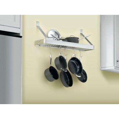36 in. Rectangular Bookshelf Pot Rack in Brushed Stainless