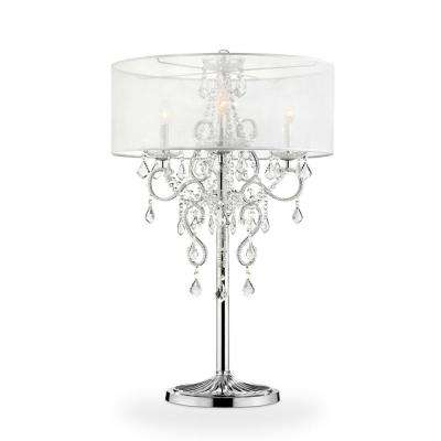 35 in. Evangelia Crystal Chrome Table Lamp