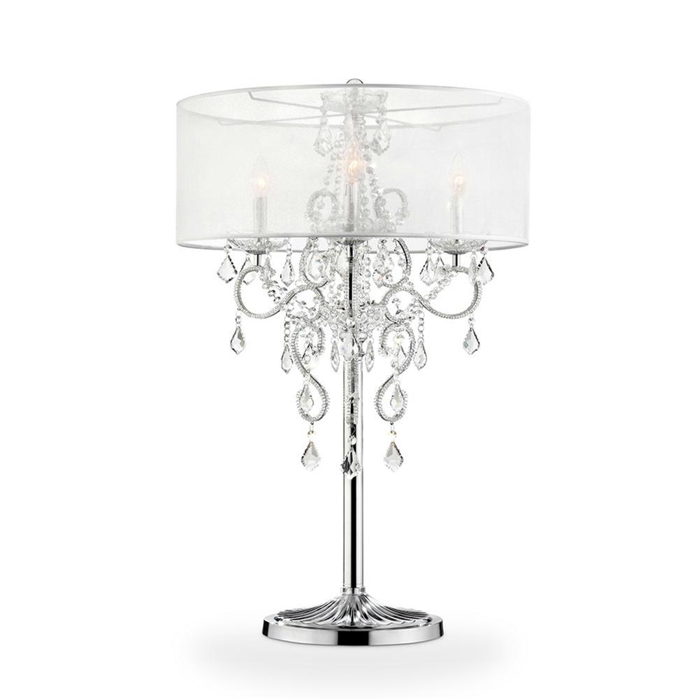 Hardwiredplug in lamps lighting the home depot evangelia crystal chrome table lamp keyboard keysfo Choice Image