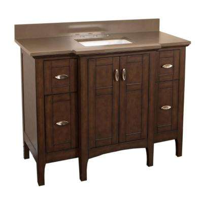 Palmdale 45 in. W x 22 in. D Single Vanity in Sable Walnut with Quartz Vanity Top in Taupe with White Basin