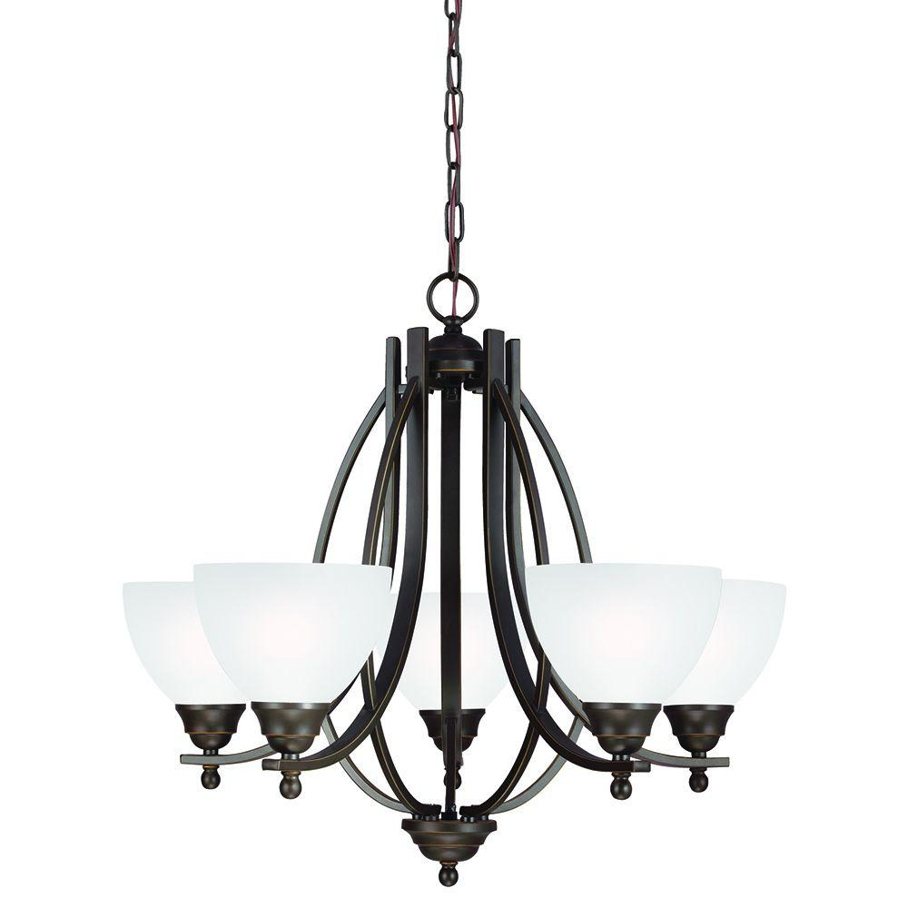 Sea Gull Lighting Vitelli 5-Light Autumn Bronze Chandelier with Satin Etched Glass