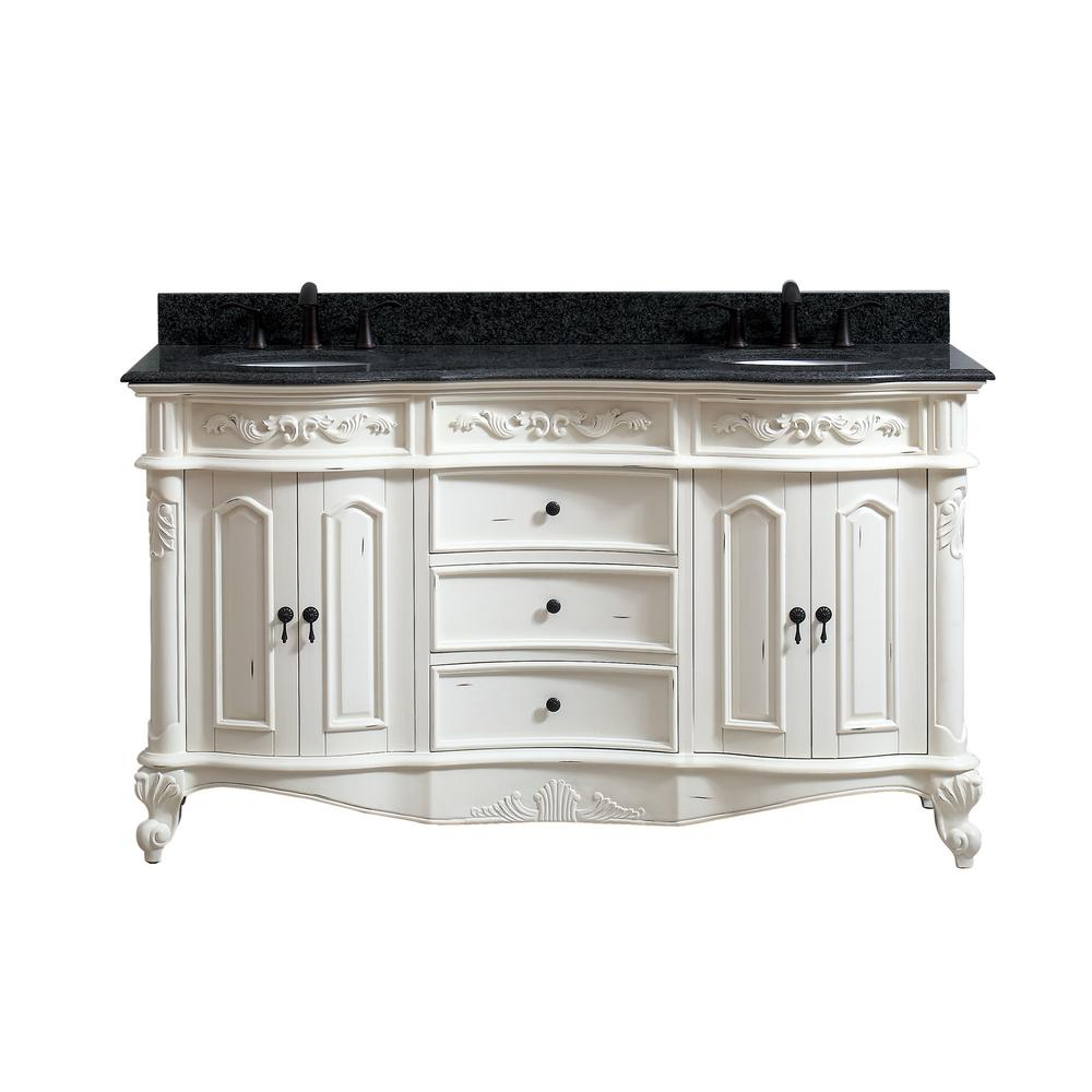 Avanity Bath Vanity Antique White Granite Vanity Top Impala Black Basins