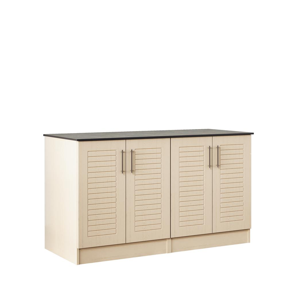 WeatherStrong Key West 59.5 in. Outdoor Cabinets with Countertop 4 Full Height Doors in Sand