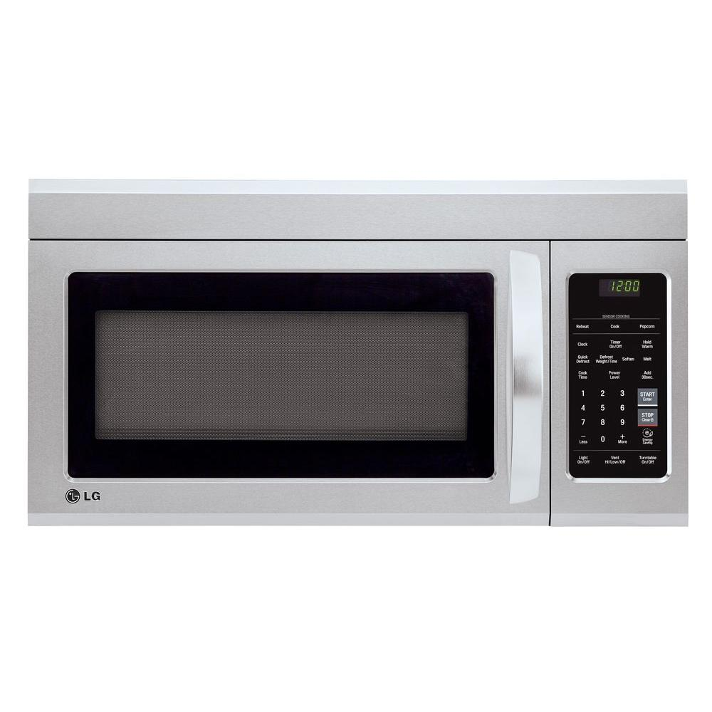 lg electronics 1 8 cu ft over the range microwave in stainless steel lmv1831st the home depot. Black Bedroom Furniture Sets. Home Design Ideas
