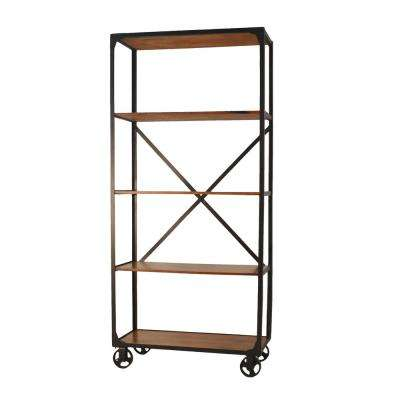 Caileen Chestnut Metal and Wood Caster Bookcase