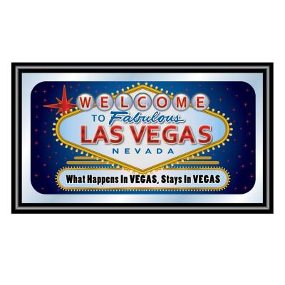 Las Vegas What Happens in Vegas Stays in Vegas 15 in. x 26 in. Black Wood Framed Mirror