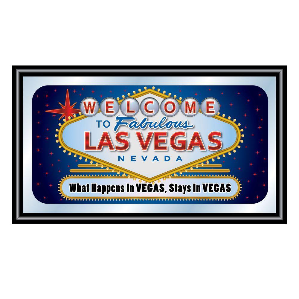 Las Vegas What Happens in Vegas Stays in Vegas 15 in. x 26 in. Black Wood Framed Mirror