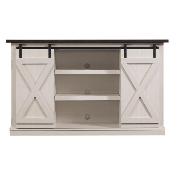 Cottonwood 54 in. Sargent Oak and Cream Wood TV Stand Fits TVs Up to 60 in. with Storage Doors