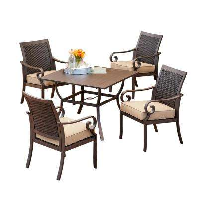 Milano 5-Piece Metal Outdoor Dining Set with Tan Cushions