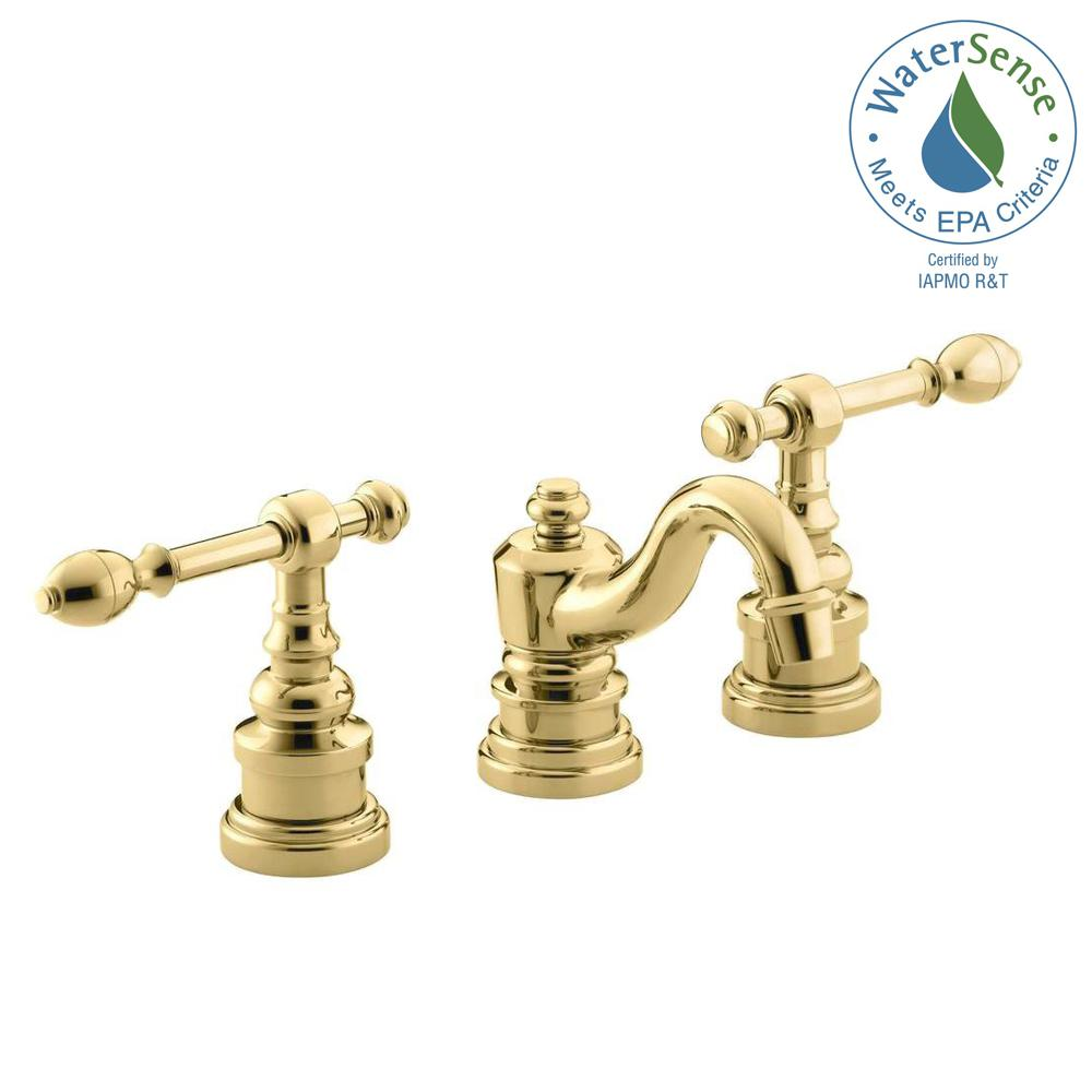 Kohler Iv Georges Brass 8 In Widespread 2 Handle Low Arc Bathroom Faucet In Vibrant Polished