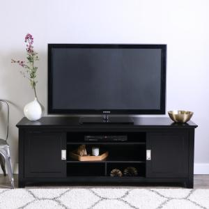 Fullview 70 in. Matte Black Composite TV Stand 75 in. with Adjustable Shelves