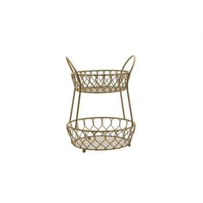 Loop and Lattice 2-Tier Round Basket