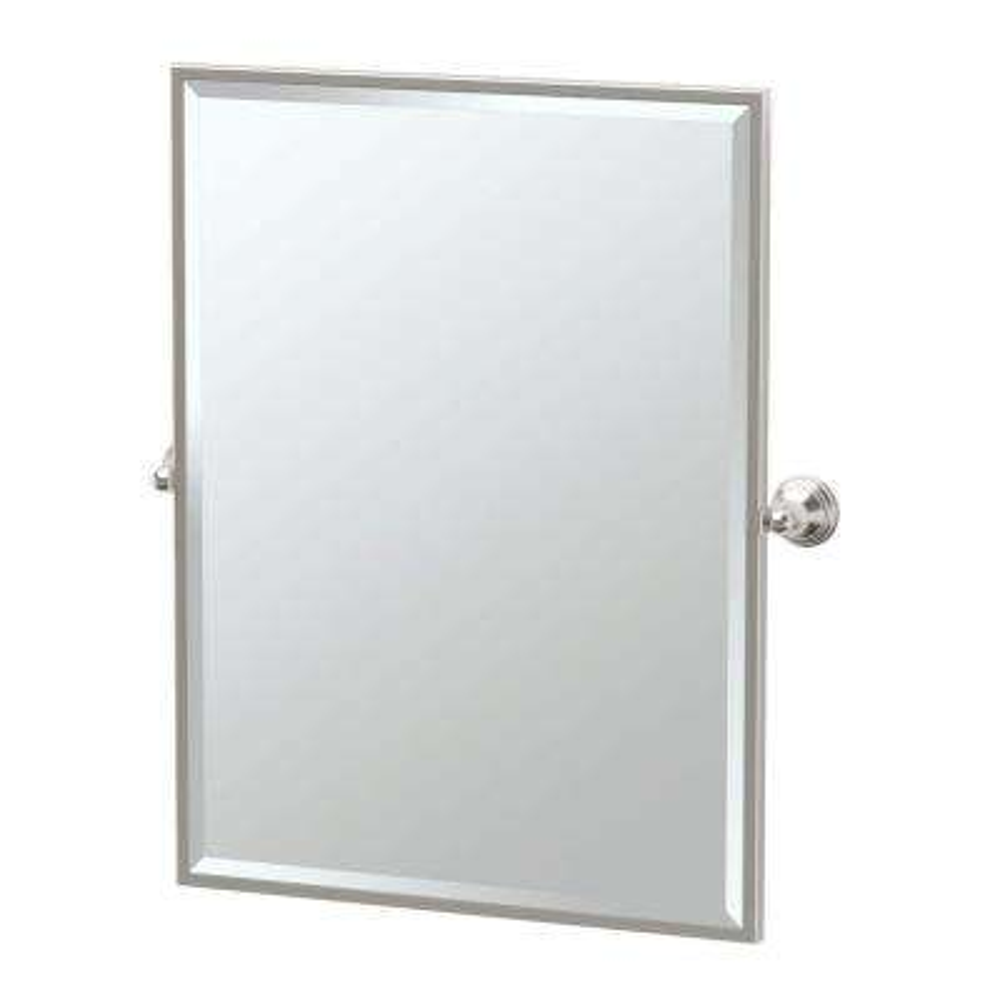 Charlotte 25 in. W x 33 in. H Framed Single Rectangle Mirror in Satin Nickel