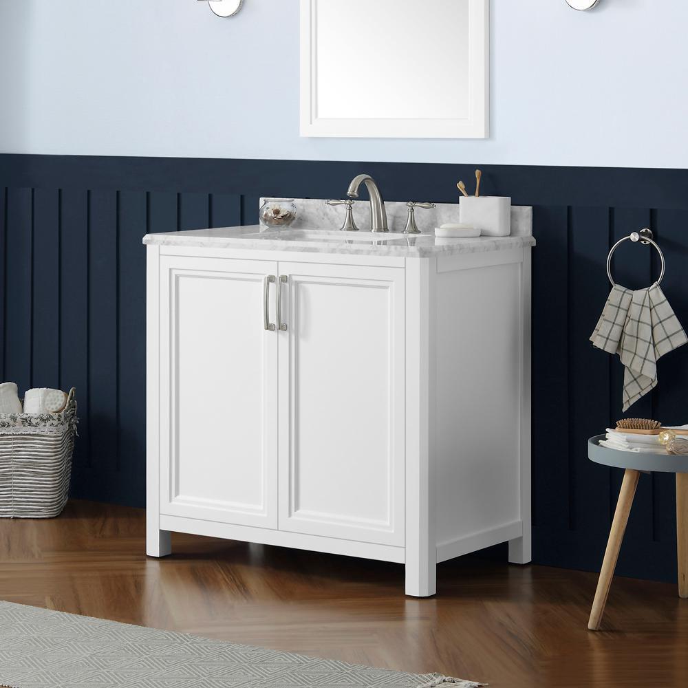Sandon 36 in. W x 22 in. D Bath Vanity in White with Marble Vanity Top in Carrara White with White Basin