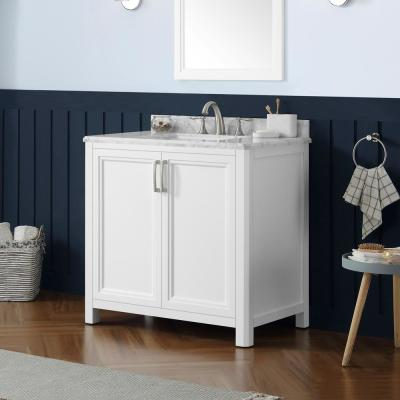 Sandon 36 in. W x 22 in. D Bath Vanity in White with Marble Vanity Top in Carrara White with White Basin