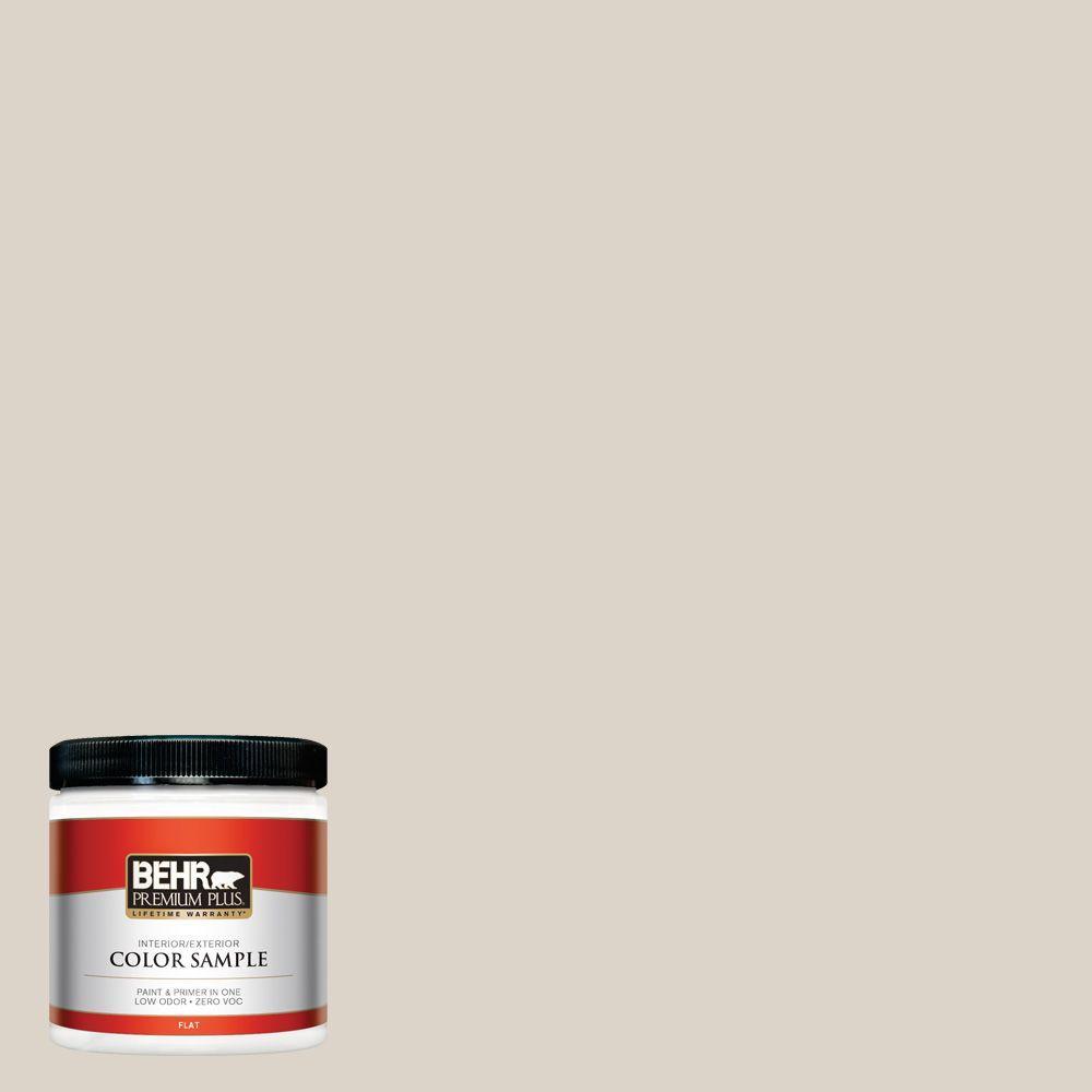 BEHR Premium Plus 8 oz. #720C-2 Chocolate Froth Flat Interior/Exterior Paint and Primer in One Sample