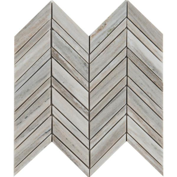 Palisandro Chevron 12 in. x 12 in. x 10mm Polished Marble Mesh-Mounted Mosaic Tile (10 sq. ft./Case)