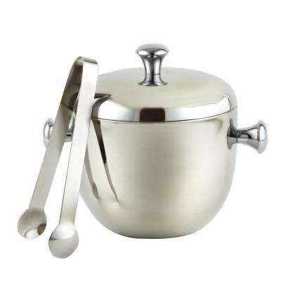1.25 Qt. Stainless Steel Double Wall Apple Shape Ice Bucket with Tongs