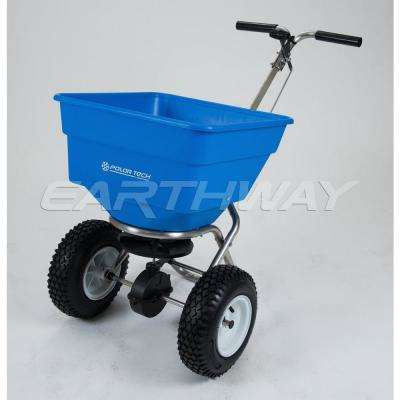 100 lbs. Stainless Steel Ice Melt Push Spreader with 13 in. Pneumatic Tire