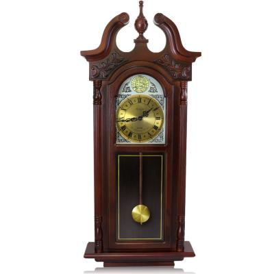 38 in. Grand Antique Cherry Oak Chiming Wall Clock