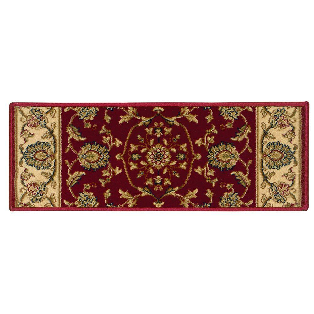 Natco Kurdamir Rockland Crimson 9 in. x 33 in. Stair Tread Cover-2070CNST33H - The Home Depot