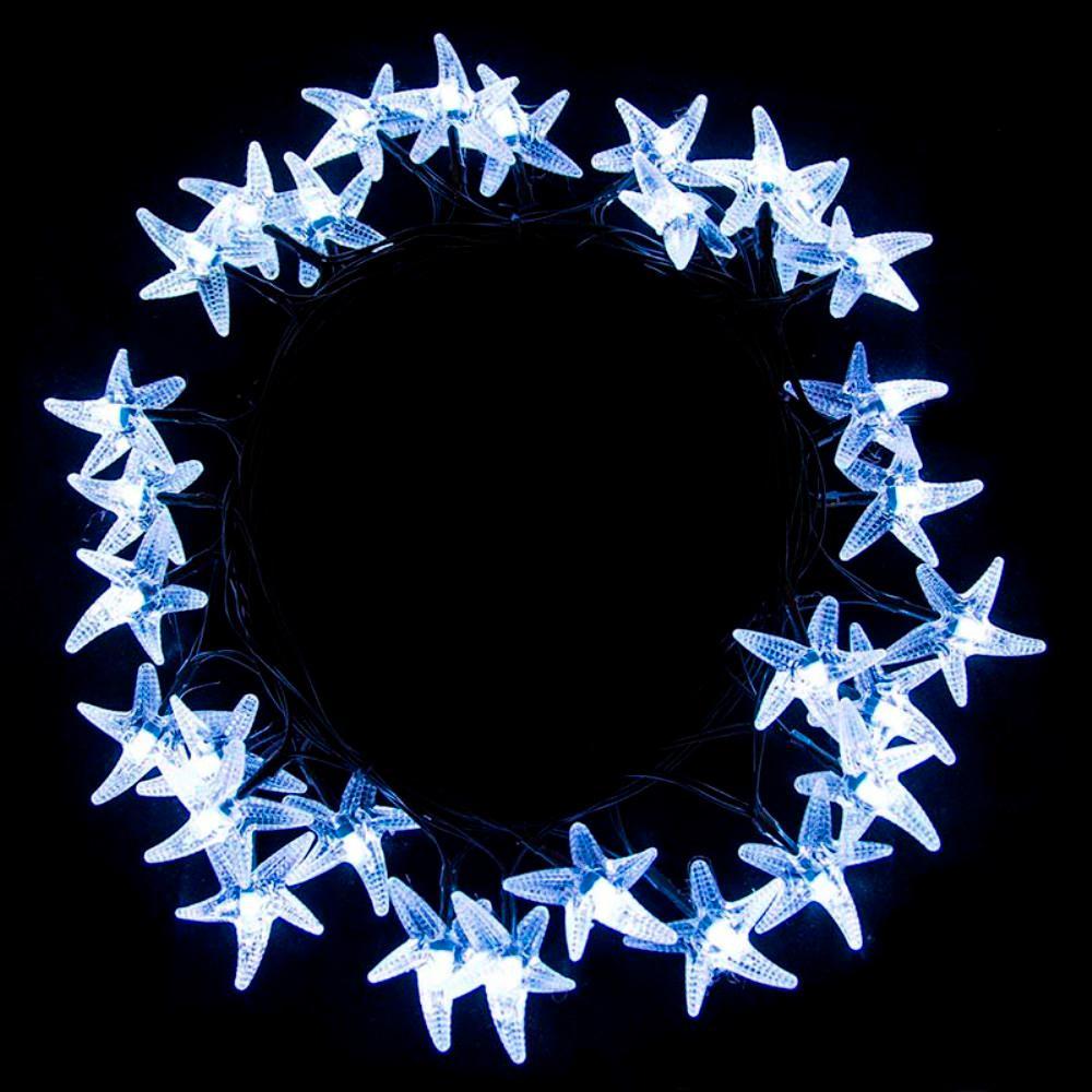 30-Light LED White Starfish Solar Powered String Lights