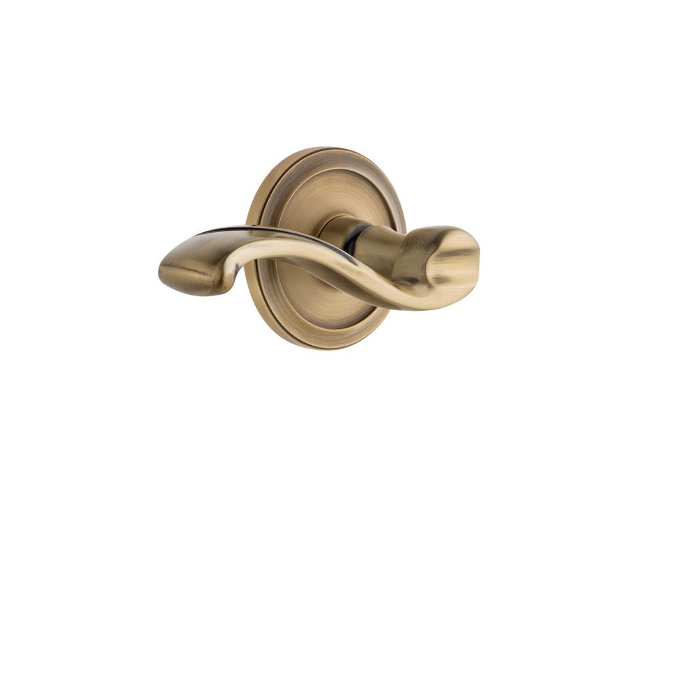 Circulaire Rosette Double Dummy with Portofino Door Lever in Vintage Brass