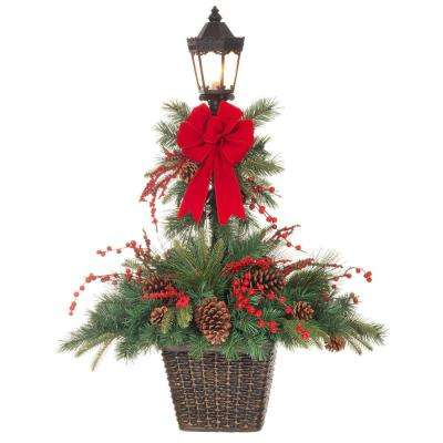 44 in h lantern post in resin pot with ul listed clear light - Home Depot Outdoor Christmas Decorations
