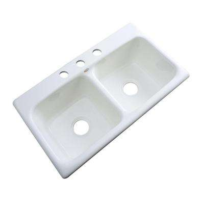 Brighton Drop-In Acrylic 33 in. 3-Hole Double Bowl Kitchen Sink in White
