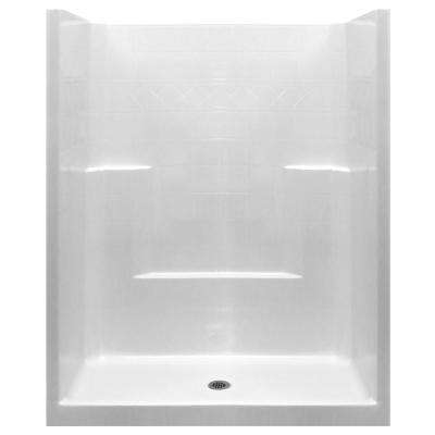 Standard 33 in. x 60 in. x 77 in. 1-Piece Low Threshold Shower Stall in White with Center Drain