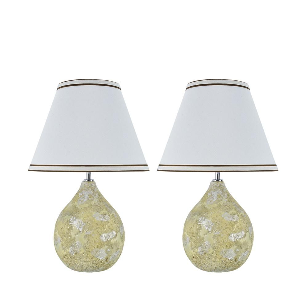 Aspen Creative Corporation 18 in. Moss Ceramic Table Lamp with Hardback Empire Shaped Lamp Shade in Off-White (2-Pack)