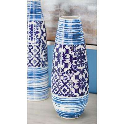 16 in. Oriental Blue and White Urn-Type Decorative Vase