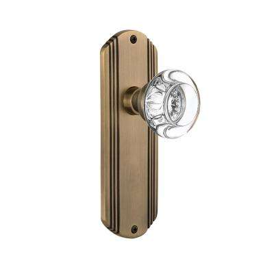 Deco Plate 2-3/4 in. Backset Antique Brass Passage Round Clear Crystal Glass Door Knob