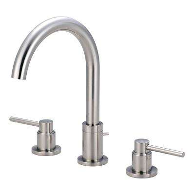 Motegi 8 in. Widespread 2-Handle High Arc Bathroom Faucet in Brushed Nickel with Drain Assembly