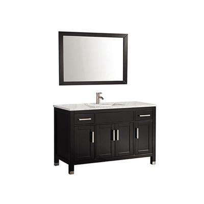 Ricca 48 in. W x 22 in. D x 36 in. H Vanity in Espresso with Marble Vanity Top in White with White Basin and Mirror