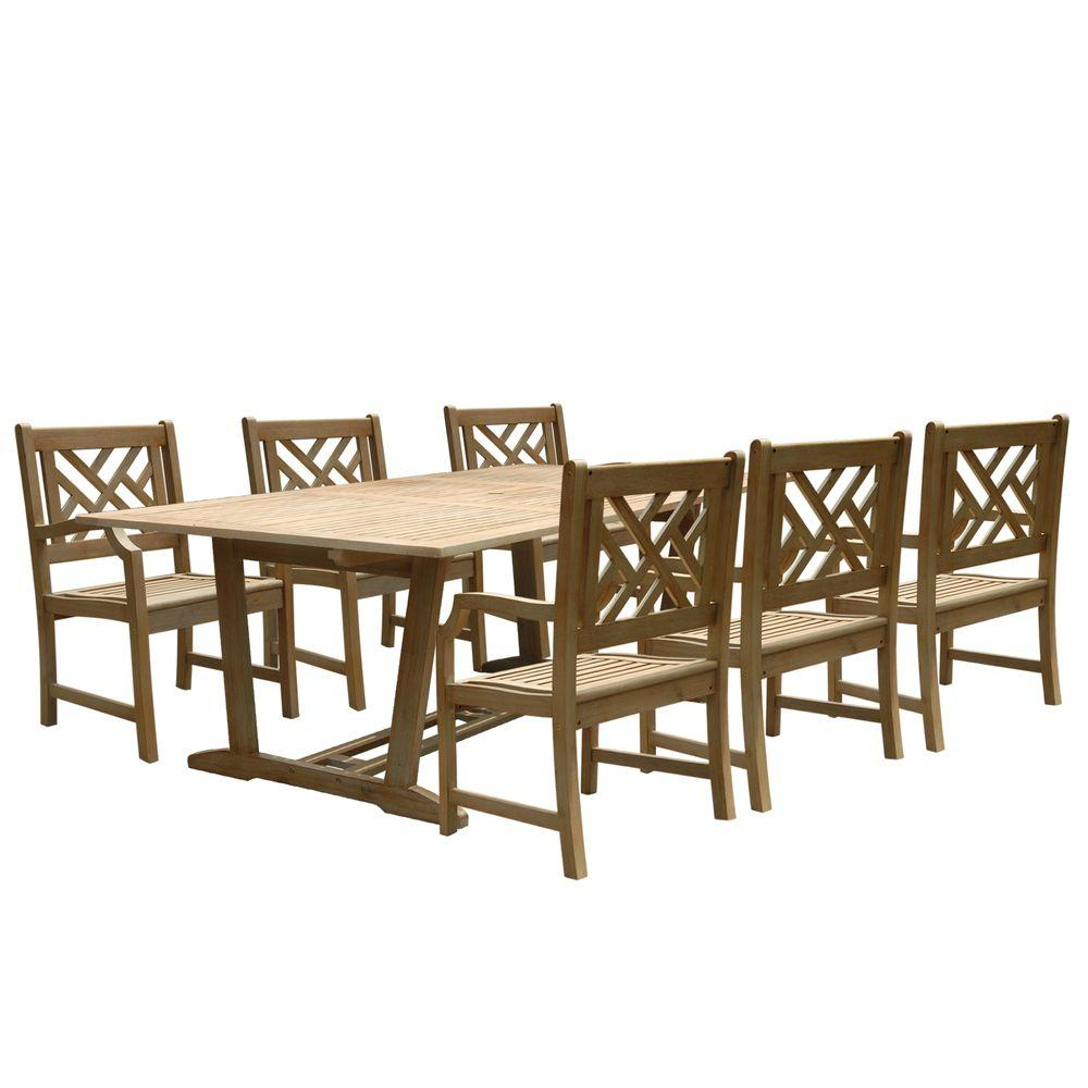Vifah Renaissance Acacia 7-Piece Patio Dining Set with Oval Extension Table and Herringbone-Back Armchairs-DISCONTINUED
