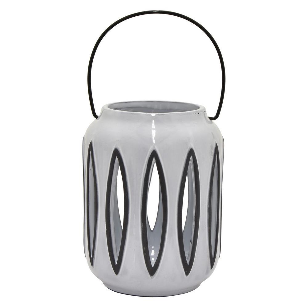 6.75 in. Gray Ceramic Lantern