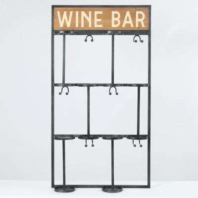 Wine Bottle and Glass Wood Wall Holder
