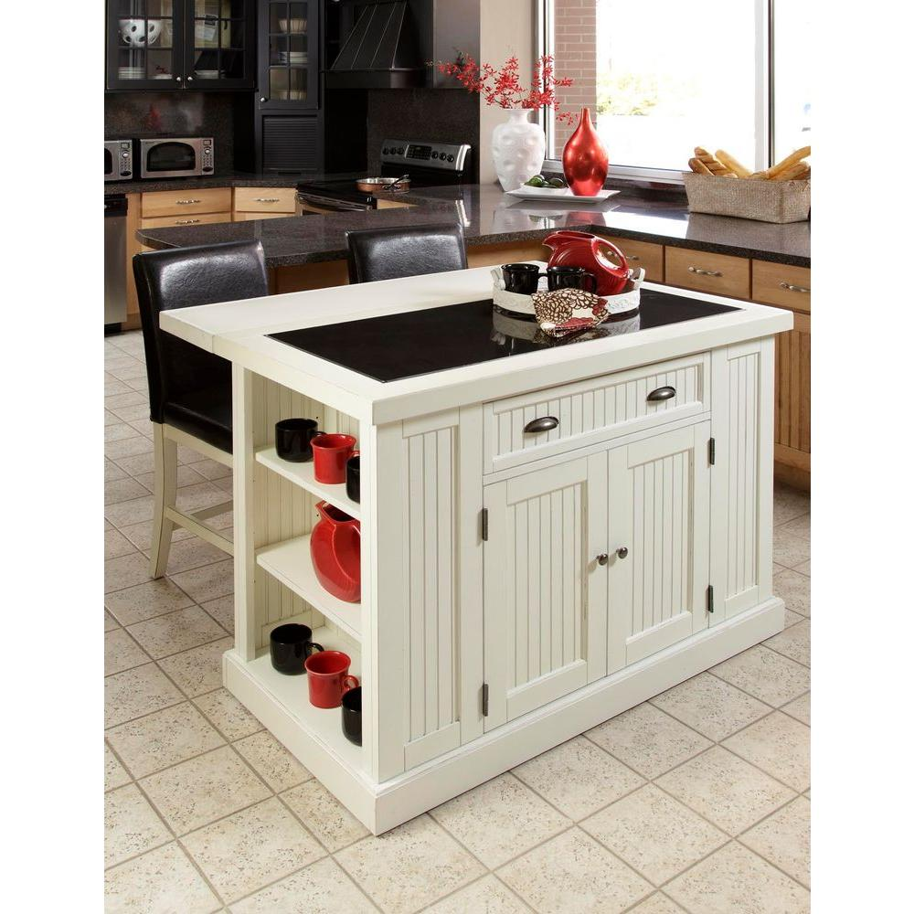 Nantucket White Kitchen Island With Granite Top