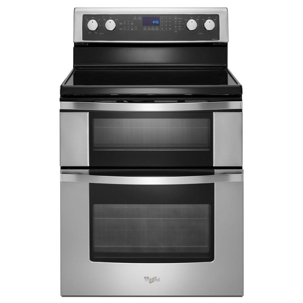 Whirlpool 6.7 cu. ft. Double Oven Electric Range with Self-Cleaning Convection Oven in Stainless Steel