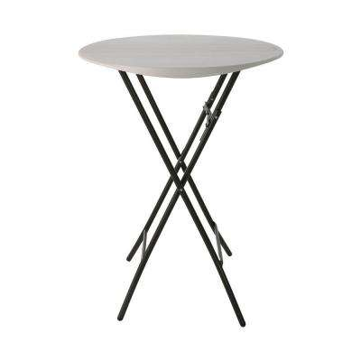 33 in. Almond Plastic Folding Bistro Table