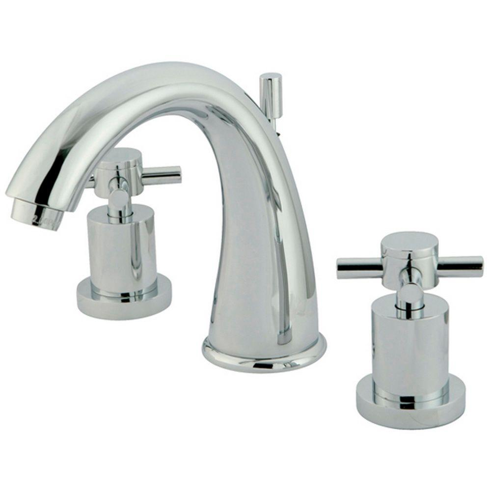 Kingston Brass Modern 8 In. Widespread 2-Handle Mid-Arc Bathroom Faucet In Chrome-HKS2961DX