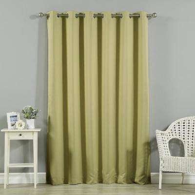 Wide Width Basic Silver 80 in. W x 84 in. L Grommet Blackout Curtain in Sage
