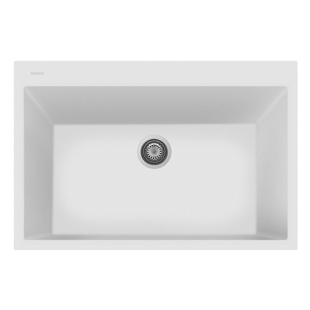 LaToscana One Drop-in Granite Composite 22 in. 1-Hole Single Bowl ...