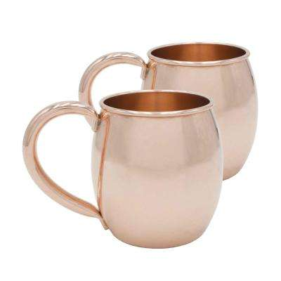 Rounded 22 oz. Extra Thick Pure Solid Copper Moscow Mule Mug (Set of 2)