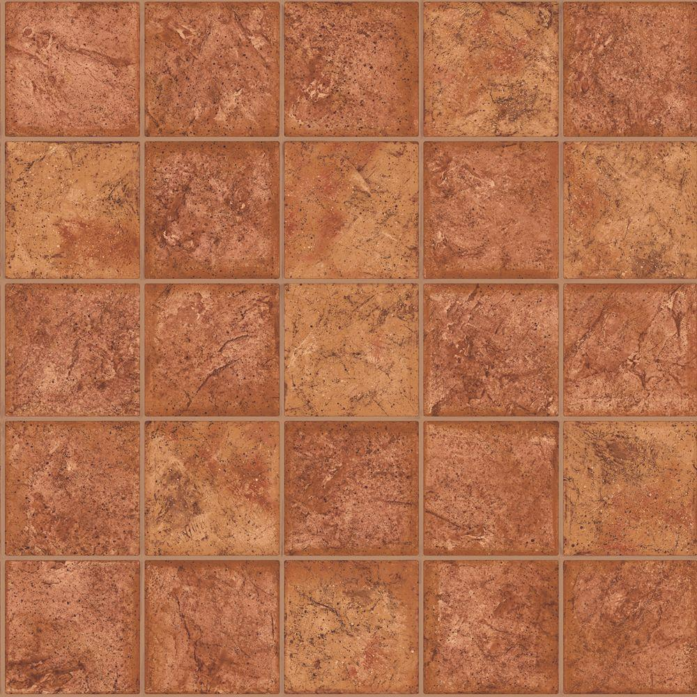 The Wallpaper Company 56 sq. ft. Orange Ceramic Tile Wallpaper